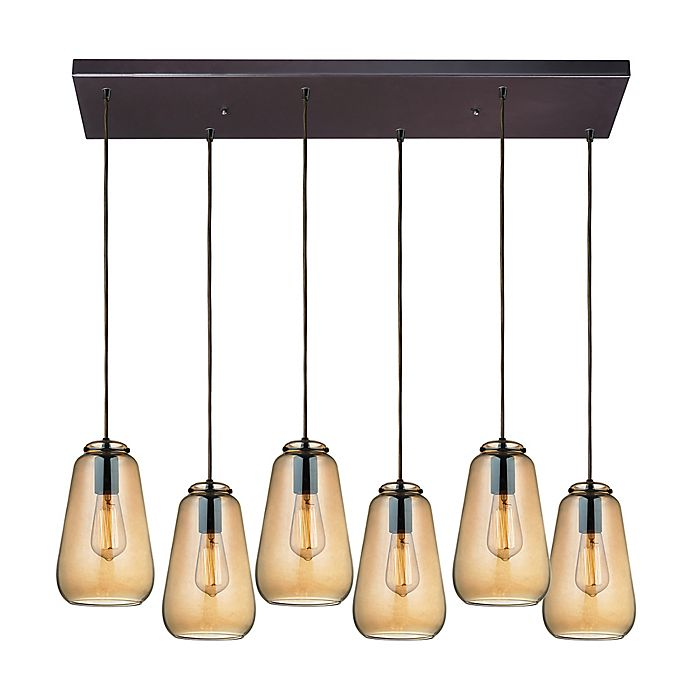 Alternate image 1 for ELK Lighting Orbital 6-Light Linear Pendant in Oil Rubbed Bronze with Teak Shades