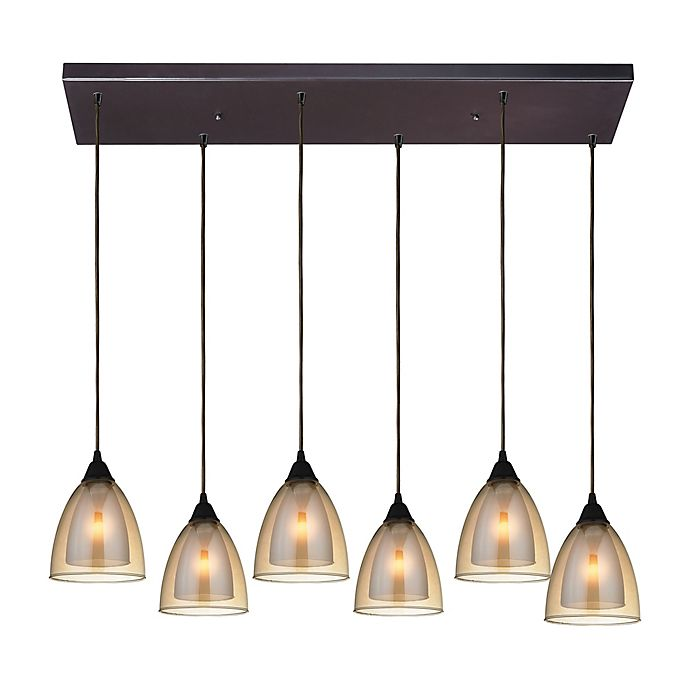 Alternate image 1 for Elk Lighting Layers Linear 6-Light Pendant in Oil Rubbed Bronze with Glass Shades