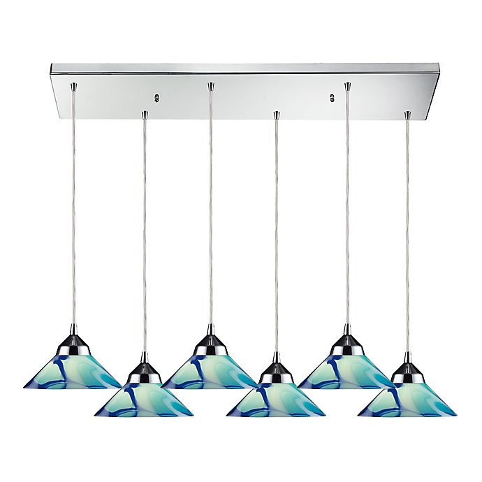 Alternate image 1 for ELK Lighting 6-Light Refraction Pendant in Polished Chrome with Teal Shades