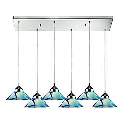 ELK Lighting 6-Light Refraction Pendant in Polished Chrome with Teal Shades