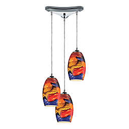 Elk Lighting Surrealist 3-Light Ceiling-Mount Pendant in Polished Chrome with Glass Shades