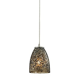 ELK Lighting Fissure 1-Light Pendant in Satin Nickel with Glass Shade