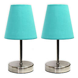 Mini Table Lamps in Brushed Nickel with Fabric Shades (Set of 2)