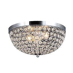 Elegant Designs Elipse Crystal 2-Light Flush Mount Ceiling Light in Chrome