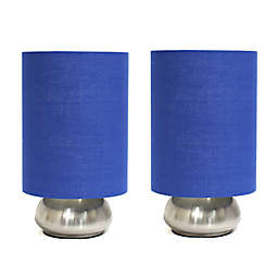 Mini Touch Table Lamps in Brushed Nickel with Royal Blue Fabric Shades (Set of 2)