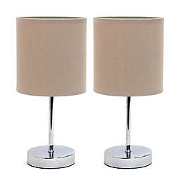 Mini Table Lamps in Chrome with Gray Shades (Set of 2)