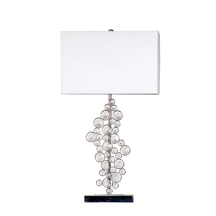 Alternate image 1 for All the Rages Elegant Designs Prismatic Crystal Table Lamp in Chrome with White Fabric Shades