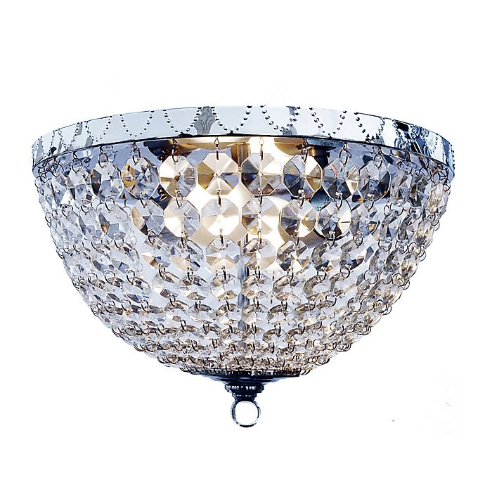 Alternate image 1 for All The Rages Victoria Crystal 2-Light Flush Mount Ceiling Light in Chrome