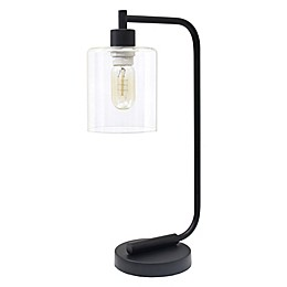 All The Rages Industrial Iron Desk Lamp in Black with Glass Shade