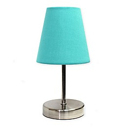 Simple Designs Mini Nickel Lamp in Nickel/Blue