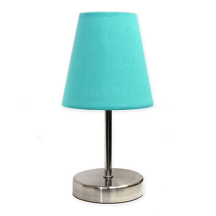 Alternate image 1 for Simple Designs Mini Table Lamp in Nickel/Blue