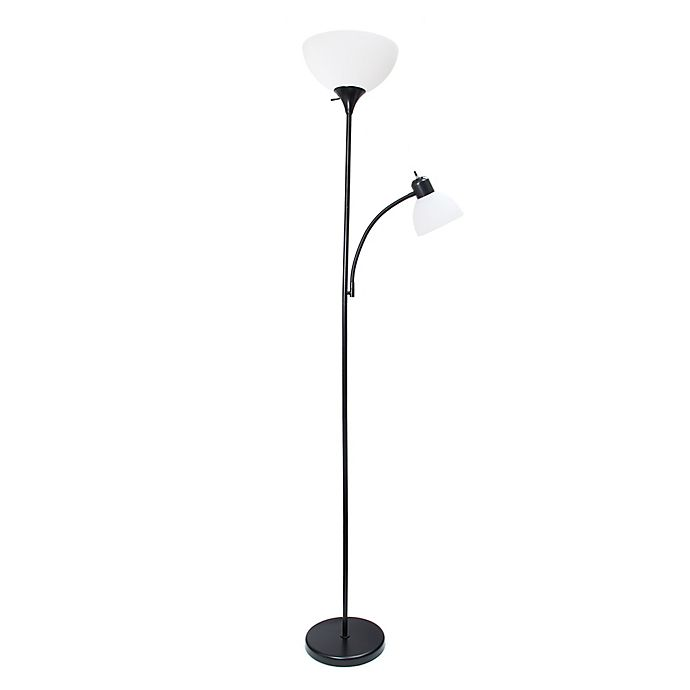 Simple Designs Floor Lamp With Reading Light In Black Bed Bath