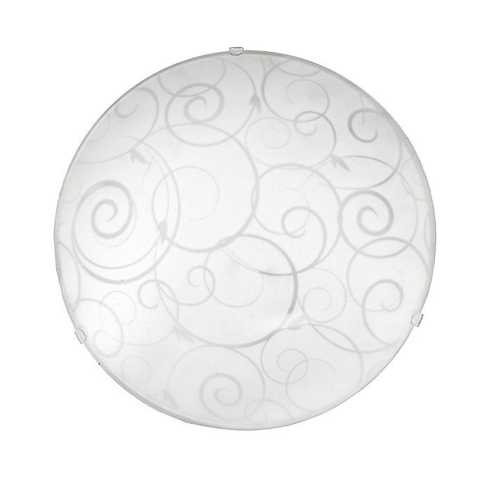 Alternate image 1 for Simple Designs Scroll 1-Light Flush-Mount Ceiling Fixture in White