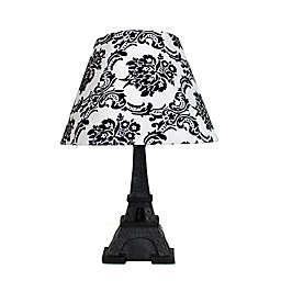 Simple Designs Paris Eiffel Tower Damask Table Lamp in Black