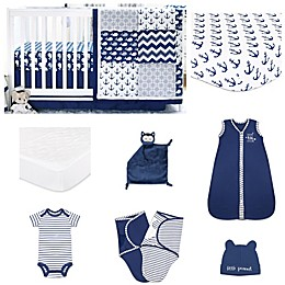 The PeanutShell™ Navy Whale 11-Piece Sleep Essentials Crib Set