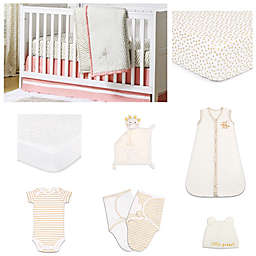 The PeanutShell™ Confetti Coral 11-Piece Sleep Essentials Crib Set in Coral/Gold