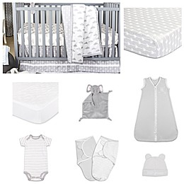 The Peanut Shell® Cloud Cover Crib Bedding Collection in Grey/White