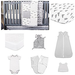 The PeanutShell™ Patchy Cloud 11-Piece Sleep Essentials Crib Set in Grey