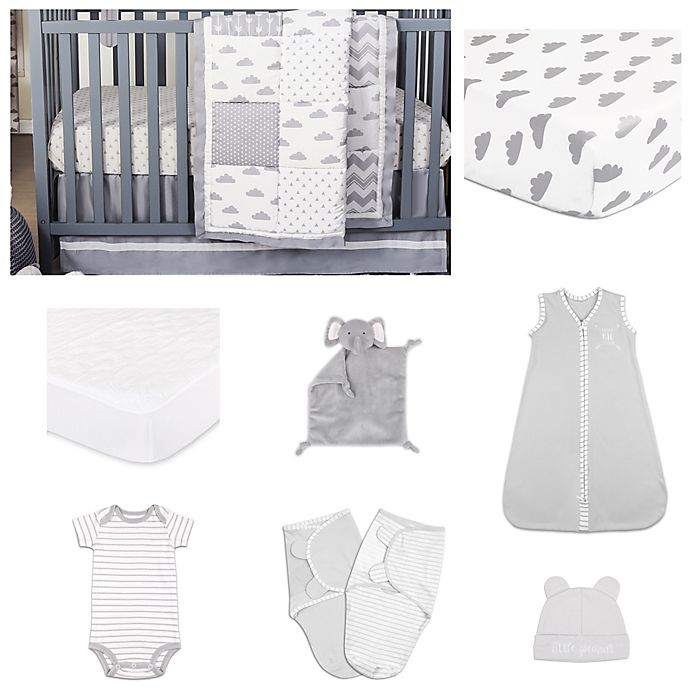 Alternate image 1 for The Peanut Shell® Patchy Cloud Crib Bedding Collection in Grey/White