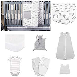 The Peanut Shell® Patchy Cloud Crib Bedding Collection in Grey/White