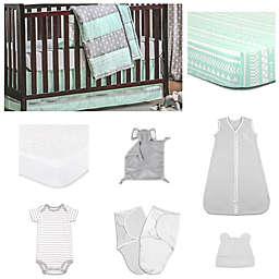 The PeanutShell™ Straight and Arrow Bedding Sleep Essentials Crib Set in Mint/Grey