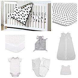 The PeanutShell™ Fluffy Cloud 11-Piece Sleep Essentials Crib Set in Black/White