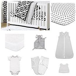 The PeanutShell™ Deco Diamond 11-Piece Sleep Essentials Crib Set in Black/White