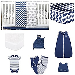 The Peanut Shell® Chevron Crib Bedding Collection in Navy
