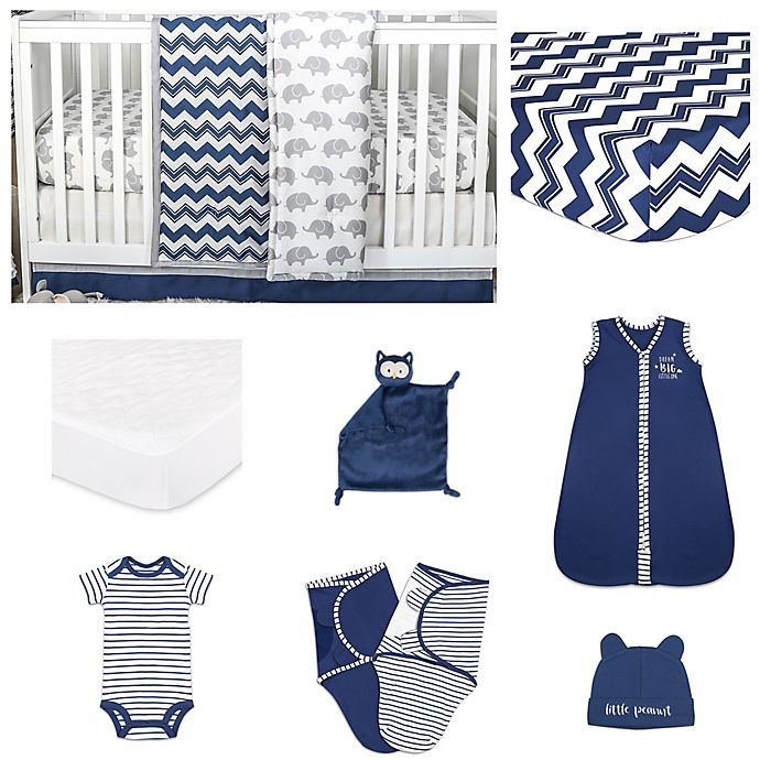 Alternate image 1 for The Peanut Shell® Chevron Crib Bedding Collection in Navy
