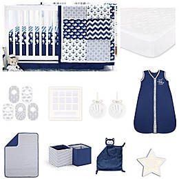 The Peanut Shell™ Navy Whale 18-Piece Nursery Essentials Set