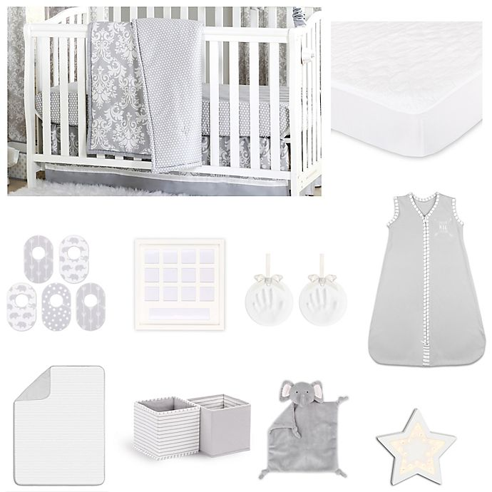 Alternate image 1 for The Peanutshell™ Damask Dot Crib Bedding Collection in Grey