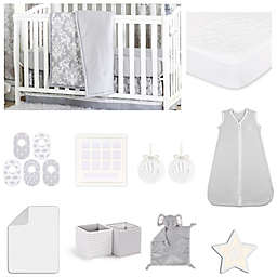 The Peanutshell™ Damask Dot Crib Bedding Collection in Grey
