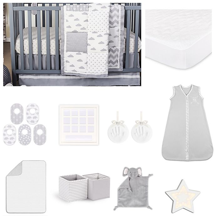 Alternate image 1 for The Peanutshell™ Patchy Cloud Crib Bedding Collection in Grey