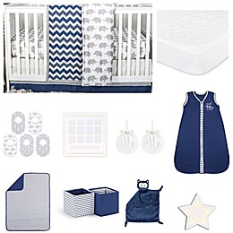 The Peanut Shell® Eli Chevron Crib Bedding Collection in Navy/Grey