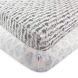Hudson Baby® 2-Pack Airplane Fitted Crib Sheets