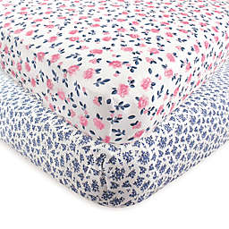 Hudson Baby® 2-Pack Floral Fitted Crib Sheets