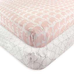 Hudson Baby® 2-Pack Elephant Fitted Crib Sheets