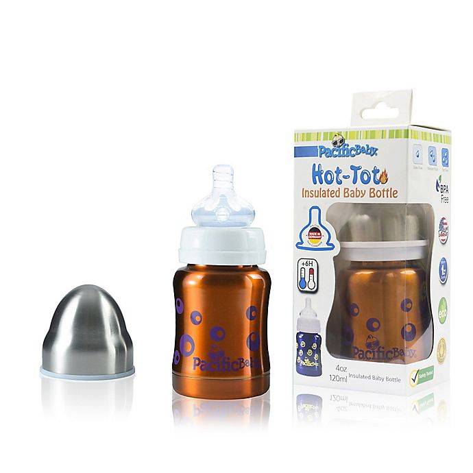 Alternate image 1 for Pacific Baby Hot-Tot 4 fl.oz. Stainless Steel Wide-Neck Insulated Baby Bottle in Bubblegum