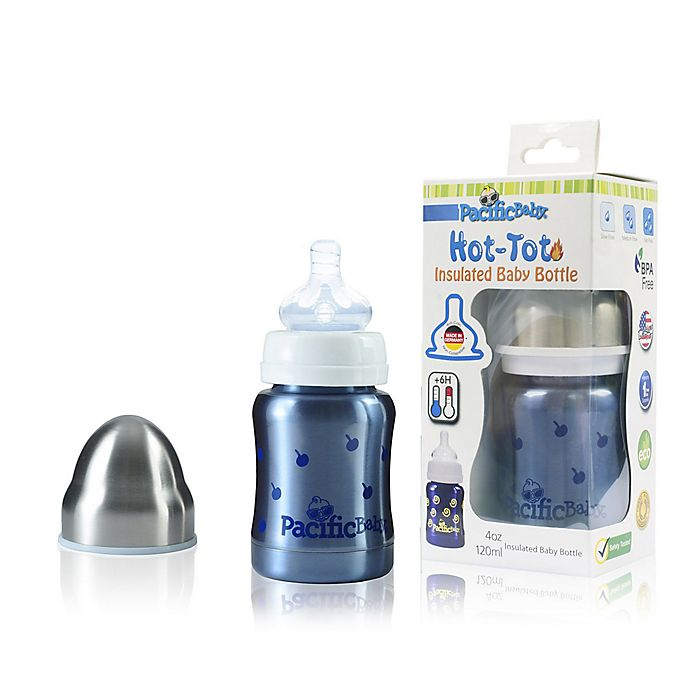 Alternate image 1 for Pacific Baby Hot-Tot 4 fl.oz. Stainless Steel Wide-Neck Insulated Baby Bottle in Blueberry