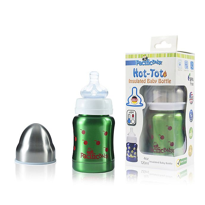 Alternate image 1 for Pacific Baby Hot-Tot 4 fl. oz. Stainless Steel Wide-Neck Insulated Baby Bottle in Cherry