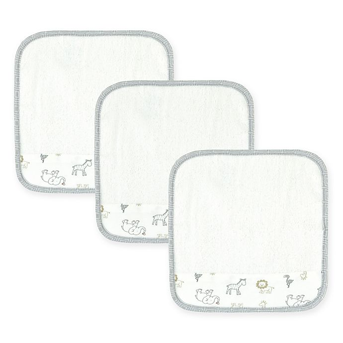 Alternate image 1 for Just Born® Animal Kingdom 3-Pack Washcloths in White/Grey