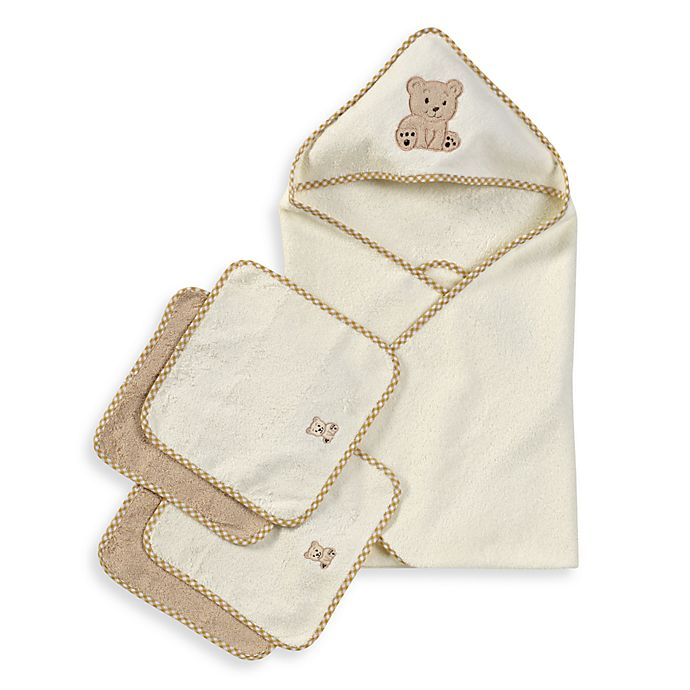 Alternate image 1 for Spasilk® Hooded Towel with Matching Washcloths - Teddy Bear