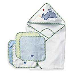 Spasilk® Hooded Towel with Matching Washcloths - Whale