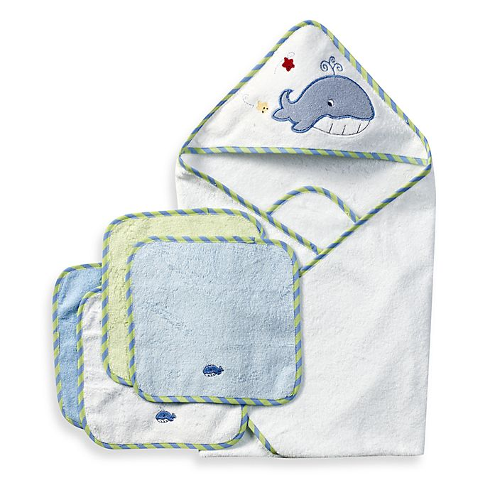 Alternate image 1 for Spasilk® Hooded Towel with Matching Washcloths - Whale