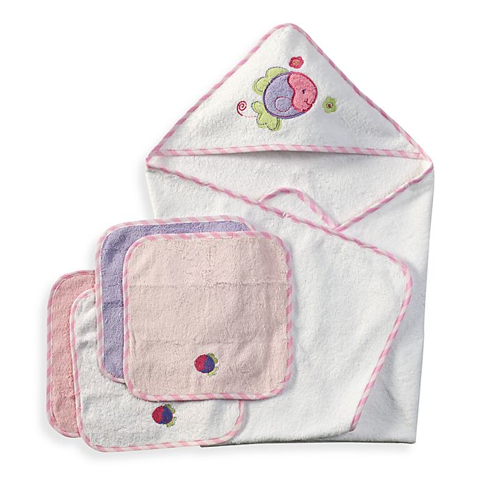Alternate image 1 for Spasilk® Hooded Towel with Matching Washcloths - Fish