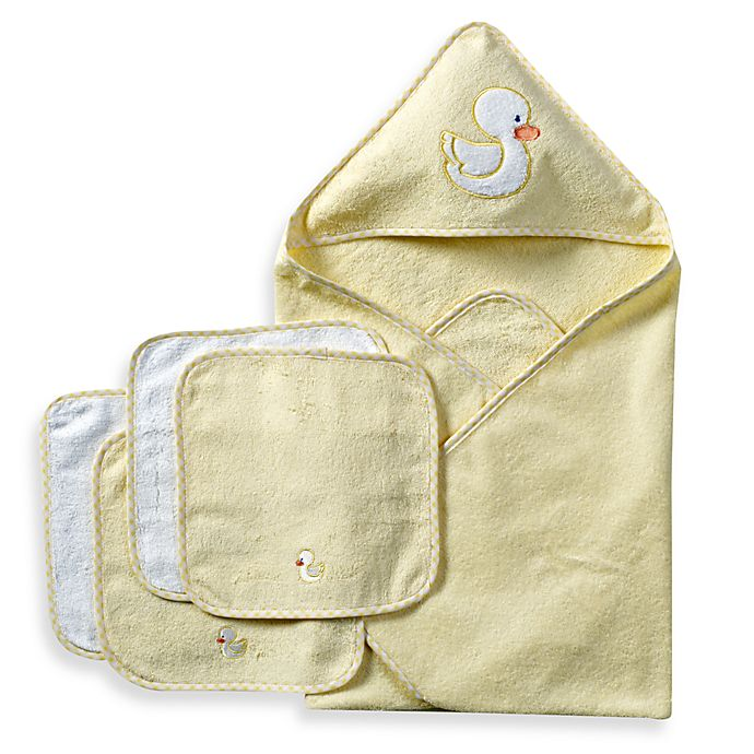 Alternate image 1 for Spasilk® Hooded Towel with Matching Washcloths - Duck