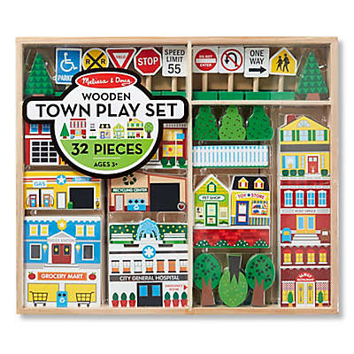 Melissa & Doug® 32-Piece Wooden Town Play Set