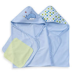 Spasilk® Hooded Towels with Matching Washcloths - Whale