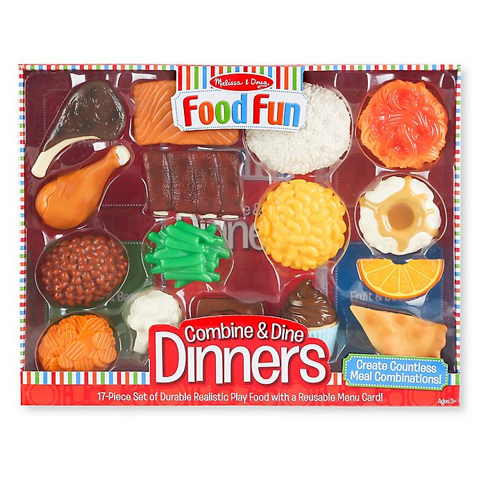 Alternate image 1 for Melissa & Doug® Food Fun 17-Piece Combine & Dine Dinner Set