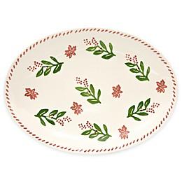 Euro Ceramica Natal Festive Holiday 13.8-Inch Oval Platter